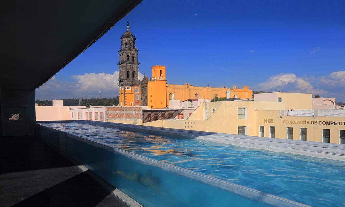 Terraza del hotel La Purificadora en Puebla